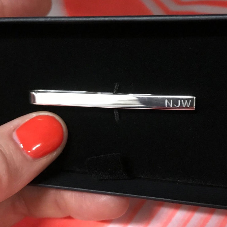 Edge Only tie bar with engraved initials