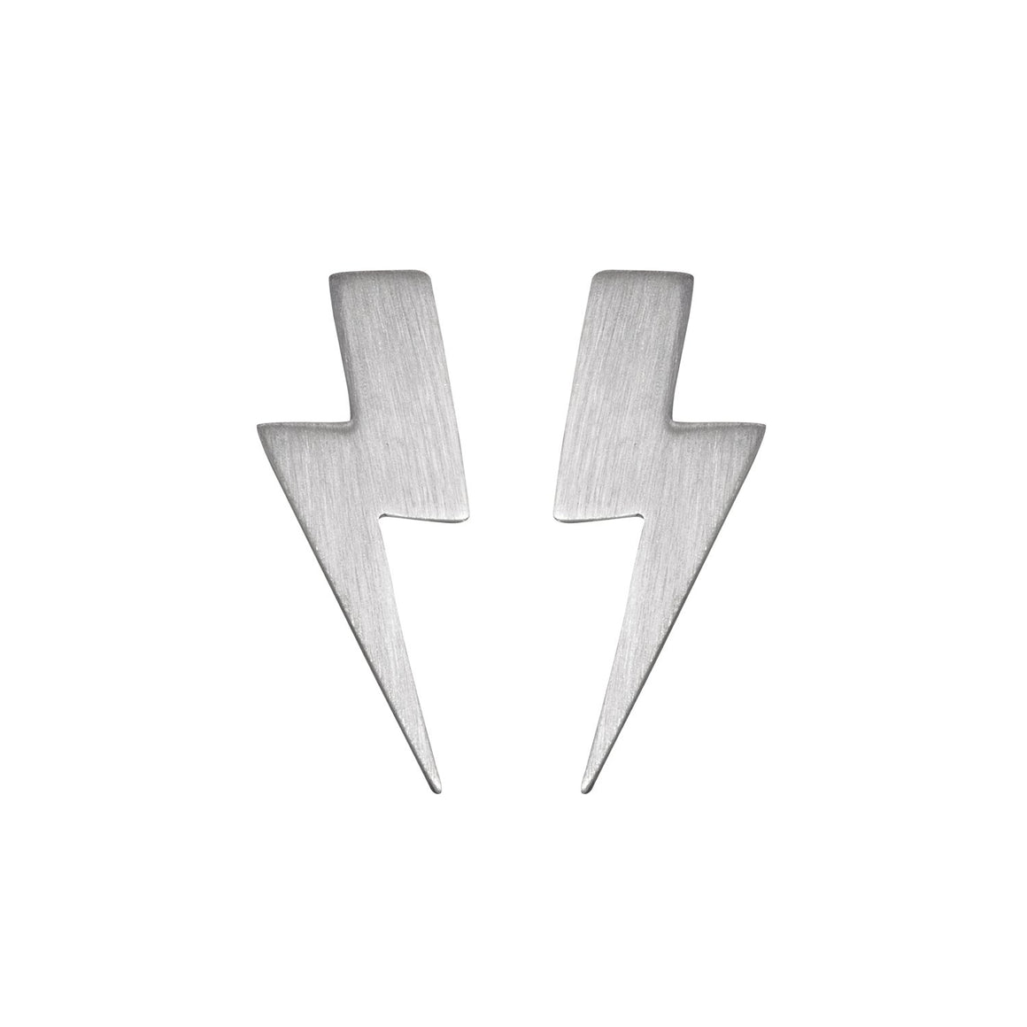 Edge Only Flat Top Lightning Bolt Earrings matt satin finish