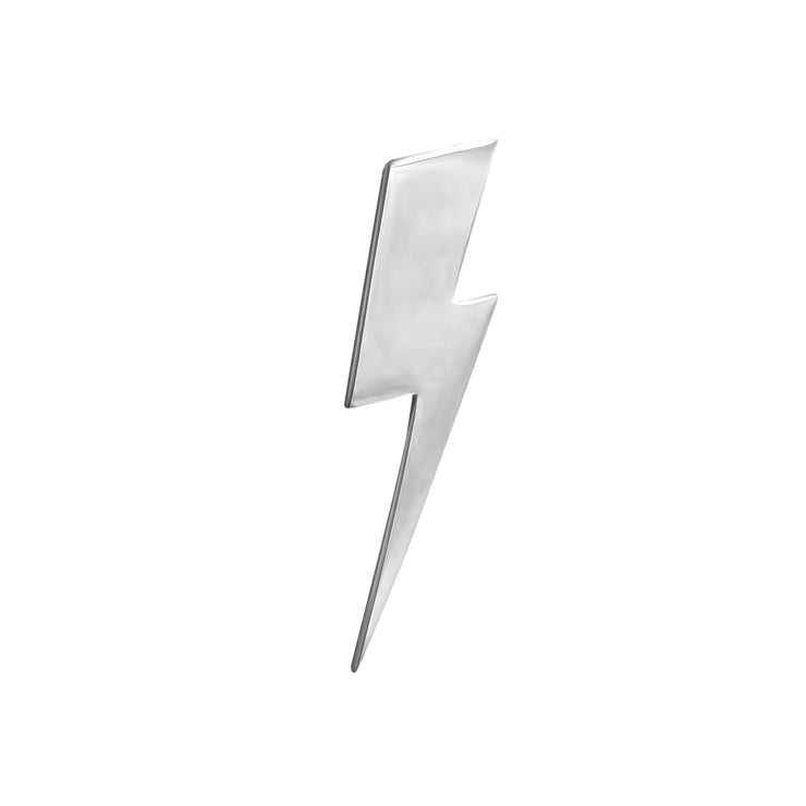 Flat Top Lightning Bolt Lapel Pin in Sterling Silver