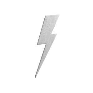 Flat Top Lightning Bolt Lapel Pin in Matt Sterling Silver