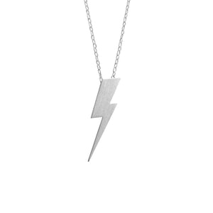 Flat Top Lightning Bolt Pendant in matt satin Sterling Silver