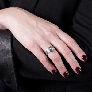 Edge Only Card Suit stacking rings in sterling silver Poker