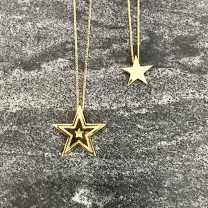 Edge Only Megastar and star pendants in 18ct gold vermeil