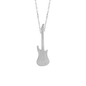 Electric Guitar Pendant in matt Sterling Silver