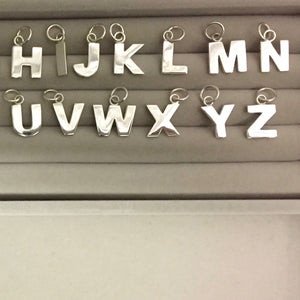 Edge Only Letters Necklaces in sterling silver Alphabet