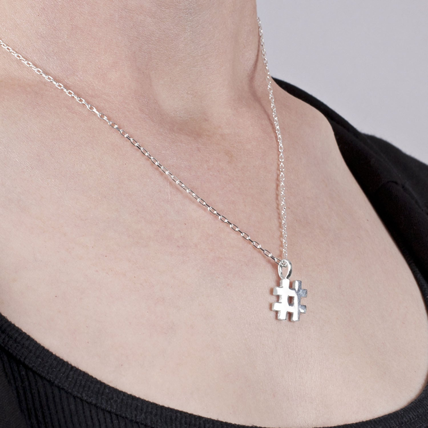Hashtag Pendant in Sterling Silver