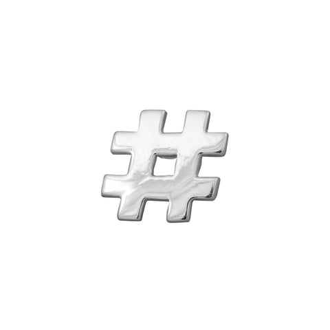 Hashtag Lapel Pin or Tie Tack in Sterling Silver