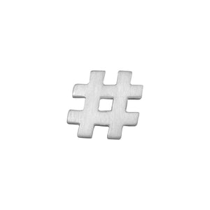 Hashtag Lapel Pin or Tie Tack in Matt Sterling Silver