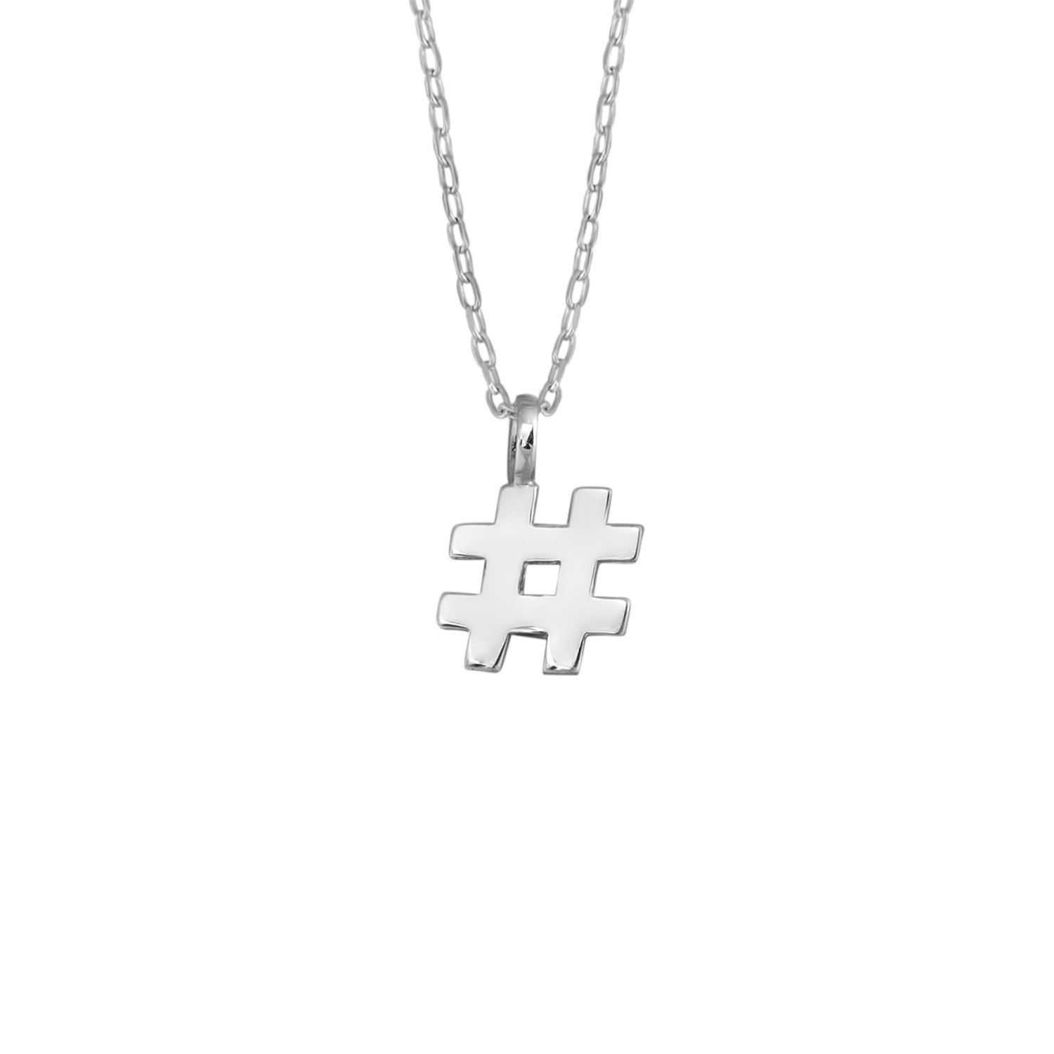 Hashtag # Pendant in Sterling Silver