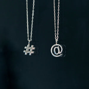 Edge Only Hashtag and At symbol Pendants # @