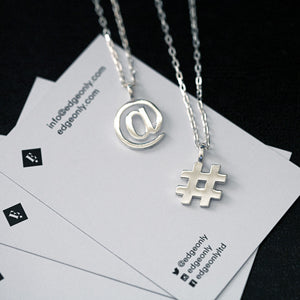 Sterling Silver At Symbol and Hashtag Pendants