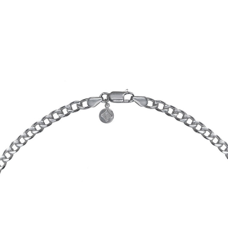 Edge Only Heavy Curb Chain clasp and tag in sterling silver