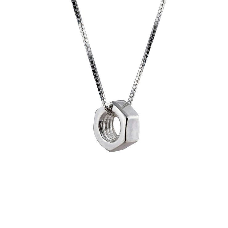 Edge Only Hex Nut Pendant Large in Sterling Silver
