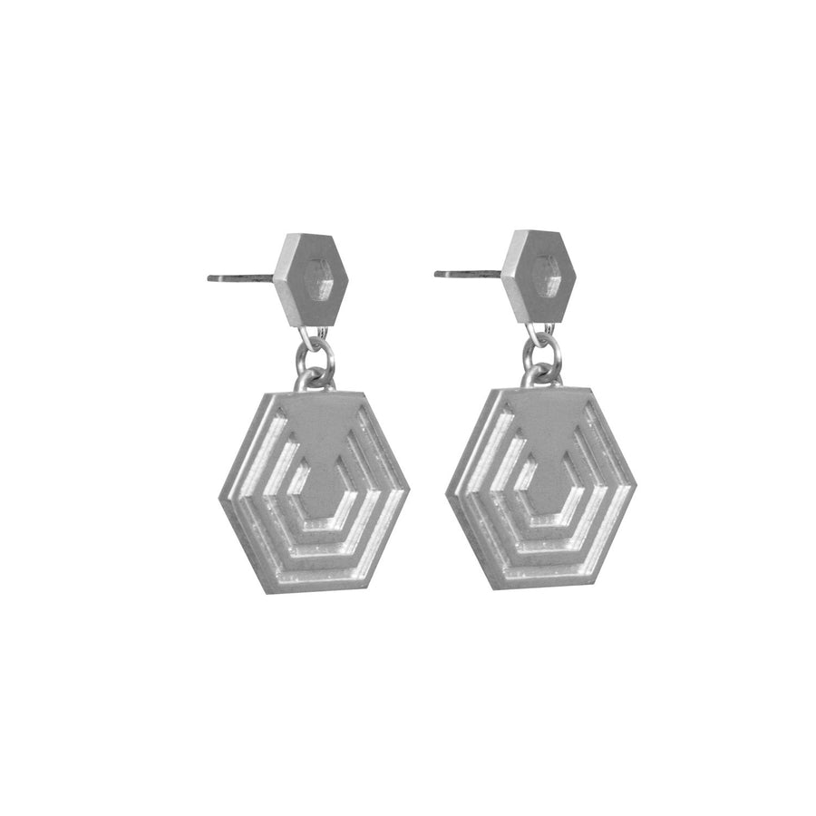 Hexagon Drop Earrings in sterling silver EOxLH