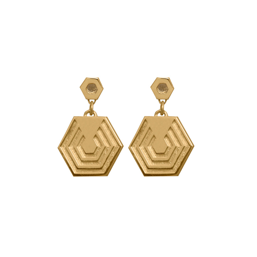 Edge Only Hexagon Drop Earrings in sterling silver EOxLH