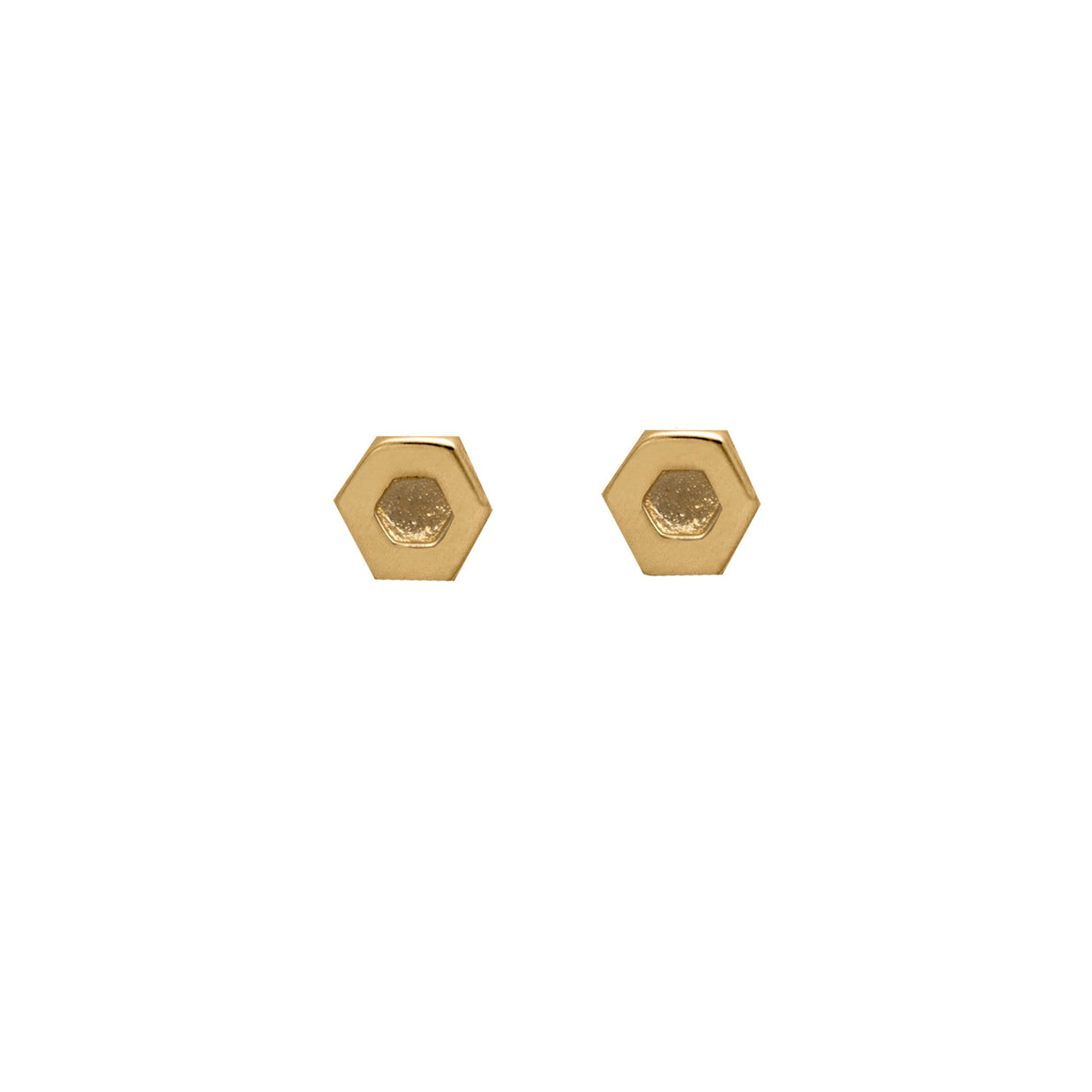 Edge Only Hexagon Earrings in 14 carat Gold EOxLH