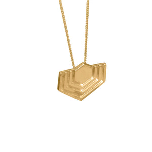 Edge Only Abstract Hexagon Pendant in 18ct gold vermeil EOxLH