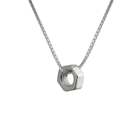 Hex Nut Pendant Tiny in Sterling Silver