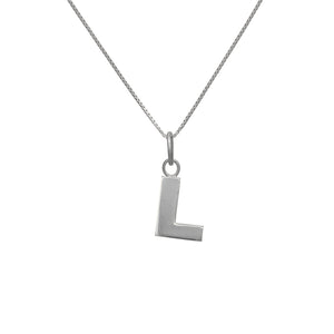 L Letter Pendant in sterling silver