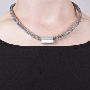 Large Marquise Bead Necklace in matt finish sterling silver