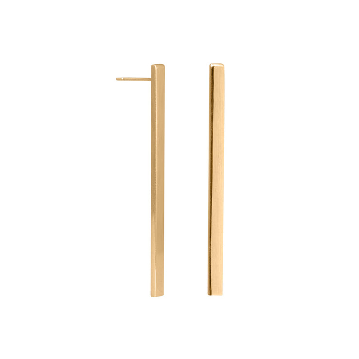 Edge Only Long Bar Earring in 18ct gold vermeil