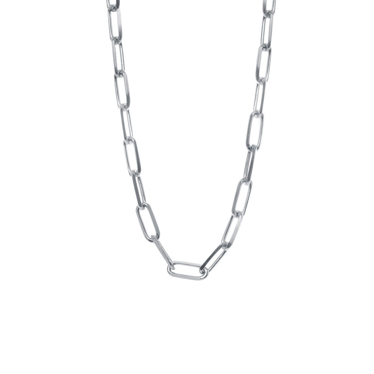 Edge Only Long Link Necklace in sterling silver