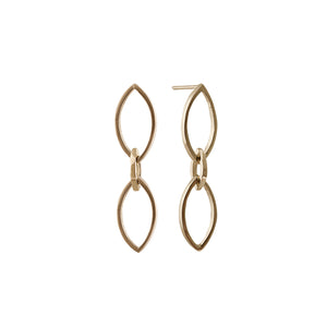 Marquise Slice Drop Earrings in 14ct Gold