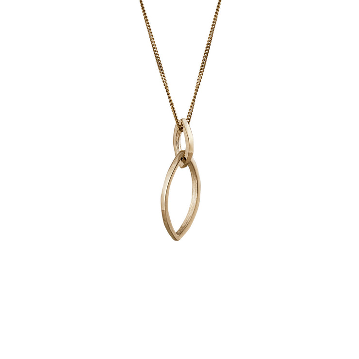 Edge Only Marquise Slice Pendant in 14 Carat Gold