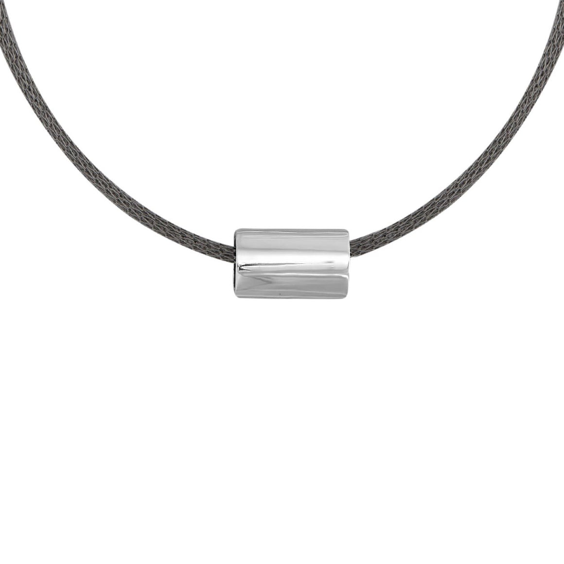 Edge Only Medium Marquise Bead Necklace in Sterling Silver