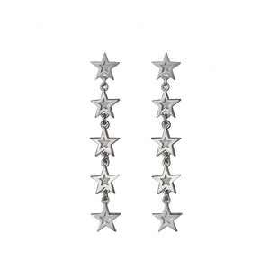 Edge Only Megastar 5 Star Drop Earrings in sterling silver
