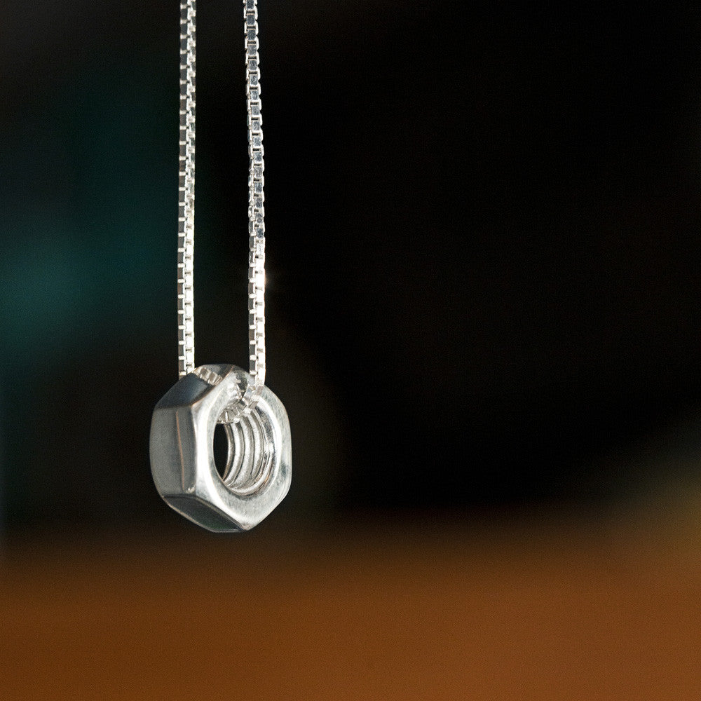 Sterling Silver Mens Nut Pendant