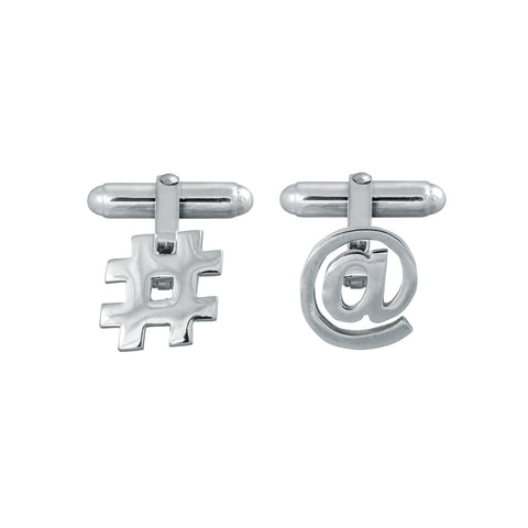 Hashtag and At Symbol Cufflinks in Sterling Silver