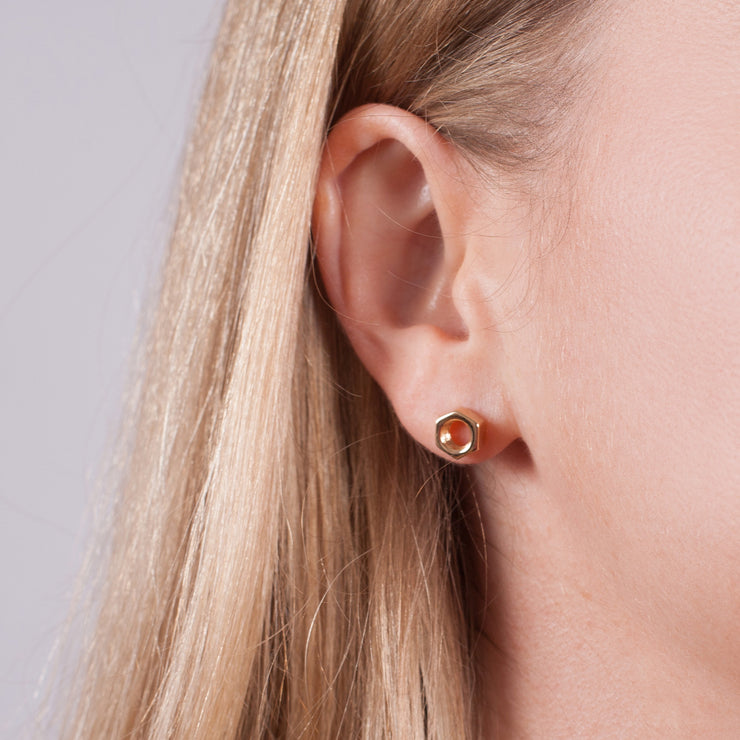 Edge Only Hex Nut Earrings in 18 carat Gold