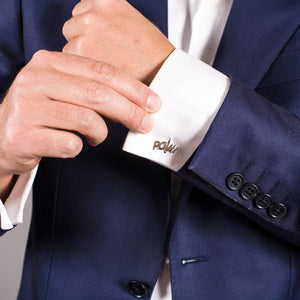 Edge Only Pow Cufflinks in sterling silver
