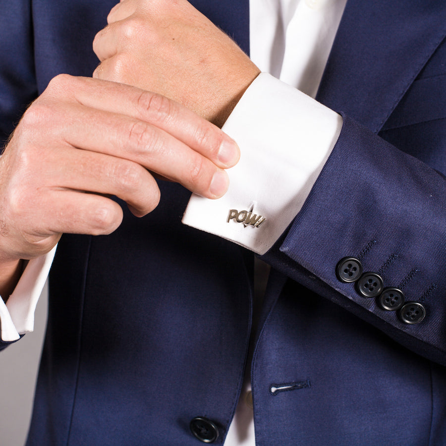 Sterling Silver Bam and Pow Cufflinks