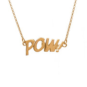 Edge Only POW Letters Necklace in 18ct gold vermeil