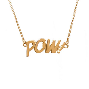 Edge Only POW Letters Necklace Large in 18ct gold vermeil