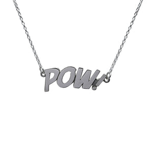 Sterling Silver POW Letters Necklace Large