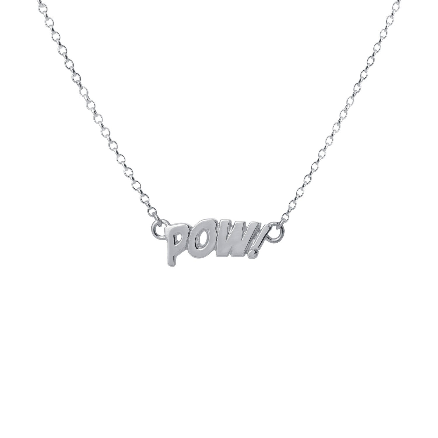 Edge Only POW! Letters Necklace Small in sterling silver