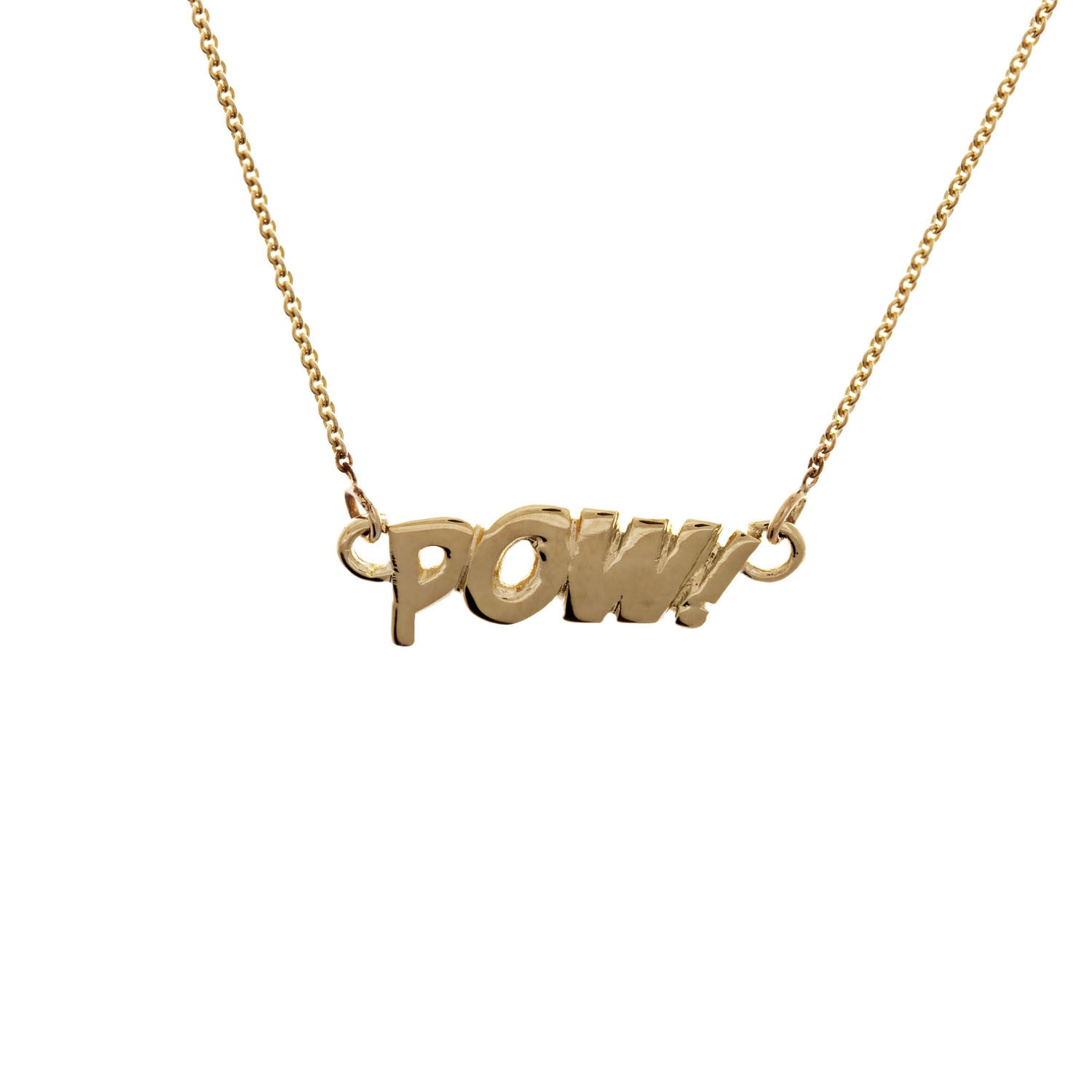 POW Letters Necklace in 14ct Gold