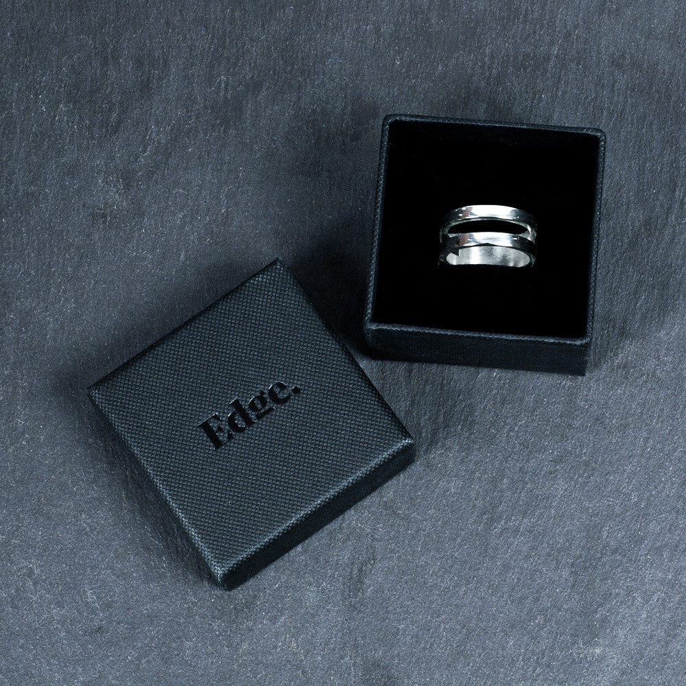 Sterling Silver Parallel Ring Edge Only Ring Box