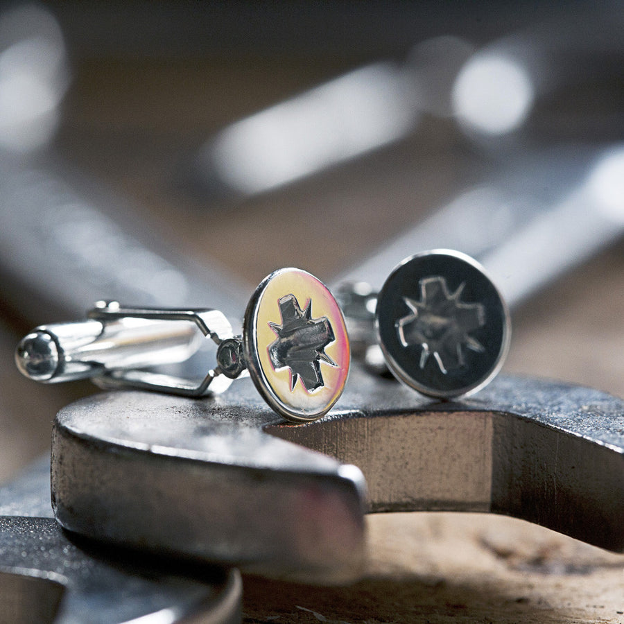 Phillips-head Screw Cufflinks in Sterling Silver