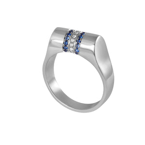 Platinum Sapphire and Diamond High Top Ring