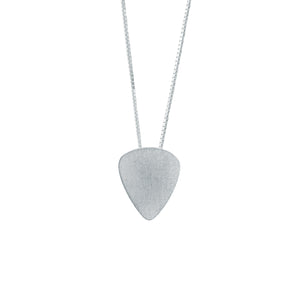 Men's Plectrum Pendant in Matt satin finish Sterling Silver