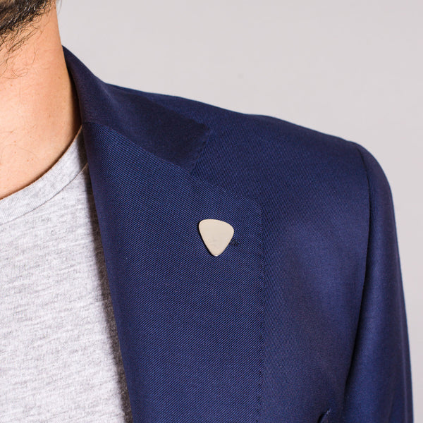 Plectrum Lapel Pin In Sterling Silver Edge Only