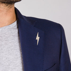 Pointed Lightning Bolt Lapel Pin in Sterling Silver