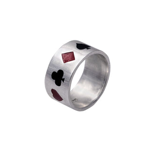 Edge Only Poker Ring Enamelled in Sterling Silver
