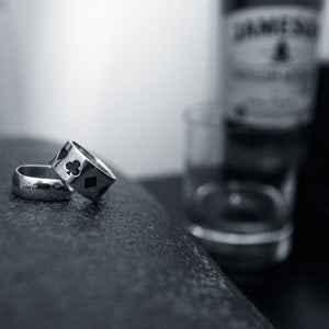 Oxidised Poker Ring and Squared Off Ring in Sterling Silver