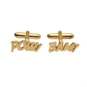 Edge Only POW and BAM Cufflinks in 18ct gold vermeil