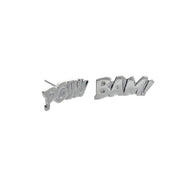 Edge Only Pow and Bam Letters Earrings in Sterling Silver